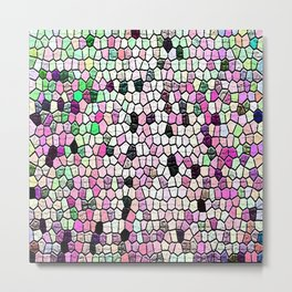purple green blue pink grey black white mosaic Metal Print