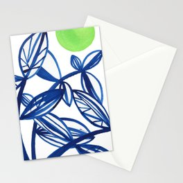 Navy blue and lime green abstract leaves Stationery Cards