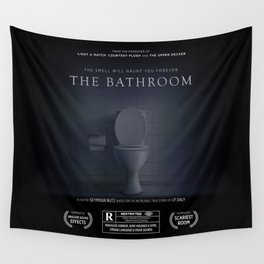 The Bathroom Funny Horror Movie Poster Sign Wall Tapestry