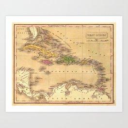 Map Of The Caribbean 1828 Art Print