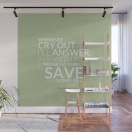 Psalm 91:15 Bible Verse - Sage Pastel Greens Wall Mural