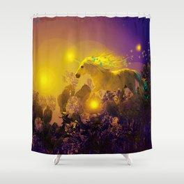 Unicorn In The Night Of Glow - My Fantasy Garden - #society6 Shower Curtain