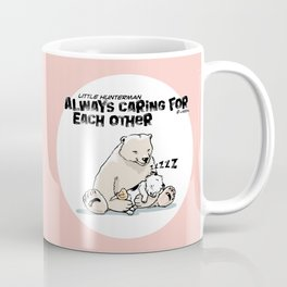 Little Hunterman – Always Caring for Each Other /white circle on pink Coffee Mug