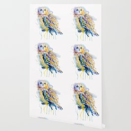 Short Eared Owl Watercolor painting Wallpaper