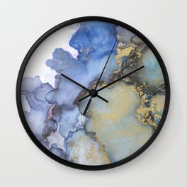 Alcohol Ink Art Handmade Indie Art Painting Blue Teal Gold Wall Clock