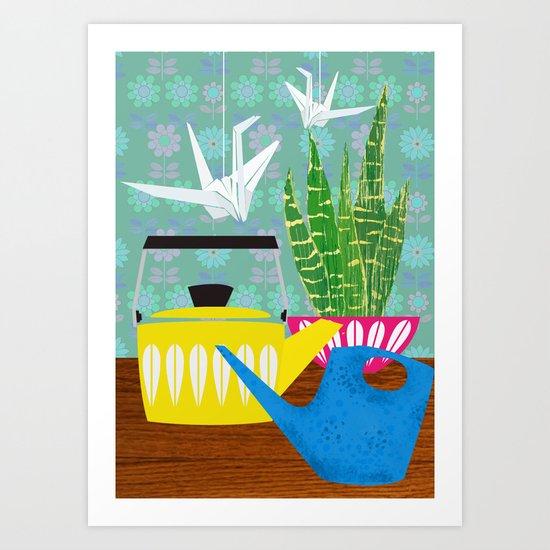Still life with paper cranes Art Print
