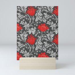 Art Nouveau Anemone, Gray / Grey and Red Mini Art Print
