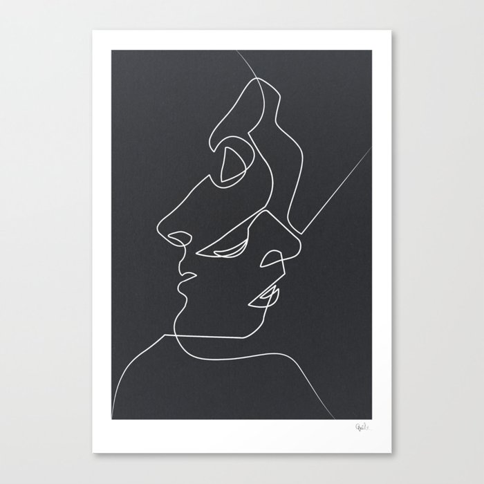 Drawing Lines With Canvas : Close noir canvas print by quibe society