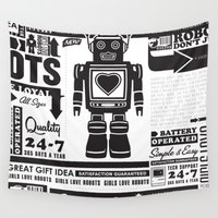 robots Wall Tapestries featuring Girls Love Robots by Jon Cain