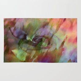 Rainbow Rose Floral Abstract Rug