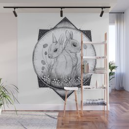 Clover Garden - Black and White Rabbit Drawing Wall Mural