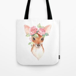 Watercolor Floral Fawn Tote Bag