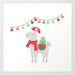 Christmas llamas V Art Print