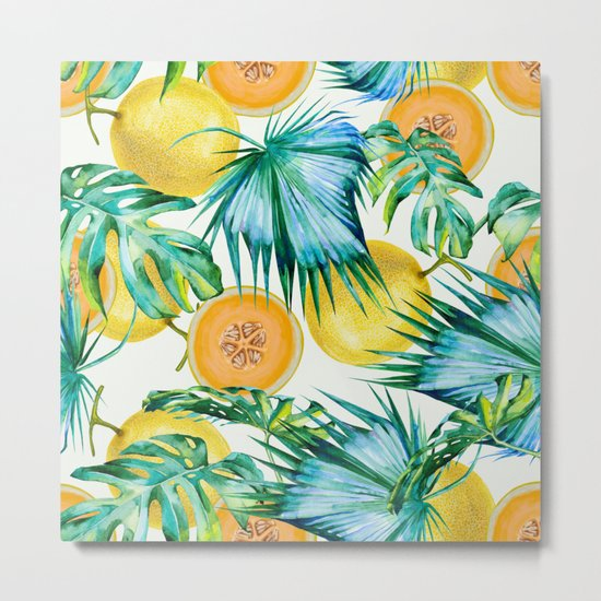 Leaf and melon pattern Metal Print