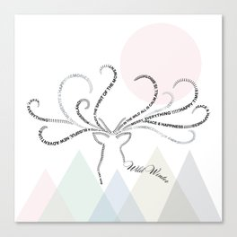 Abstrac Typographic Reindeer in The Mountains Canvas Print