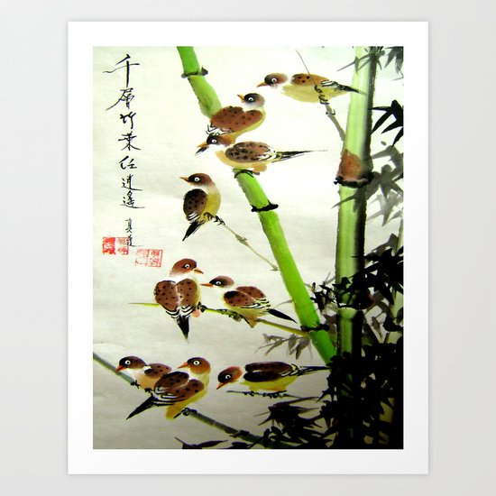 nine sparrows Art Print