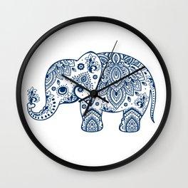 Dark-Blue Floral Paisley Elephant Illustration Wall Clock