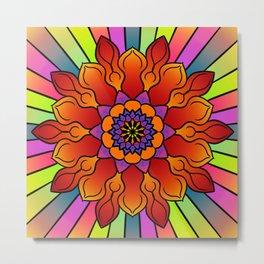 Floral rainbow mandala Metal Print