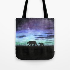 Aurora borealis and polar bears (black version) Tote Bag