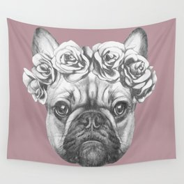 Pink Frenchie Wall Tapestry