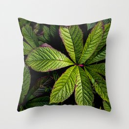 The Palmately Compound Leaf Throw Pillow