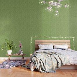 Green seamless curved shape pattern Wallpaper