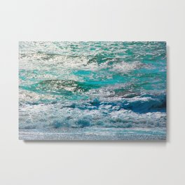 blue ocean wave texture abstract background Metal Print