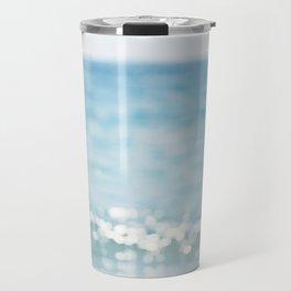 Beach Ocean Photography Art, Blue Coastal Photo, Aqua Seascape Photograph, Waves Art Travel Mug