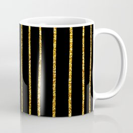 Art Deco Glitter-Gold Vertical Wavy Lines on Black Coffee Mug