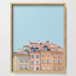 Warsaw Pastels - Poland Architecture, Travel Photography Serving Tray