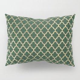 Forest green faux gold stylish moroccan quatrefoil Pillow Sham