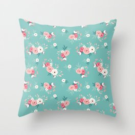 Floral Turquoise Pink Simple Flower Throw Pillow