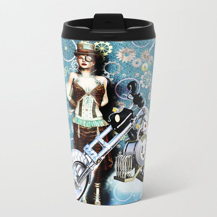 Steampunk Girl Metal Travel Mug