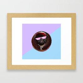Snoop Pug Chocolate Donut Framed Art Print
