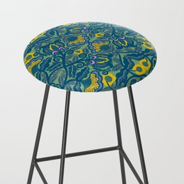 Blue Vines and Folk Art Flowers Pattern Bar Stool