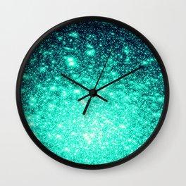 Stars Ombre Cool Aqua & Teal Wall Clock