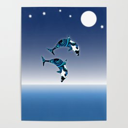 Blue Dolphins Jumping for Joy Poster