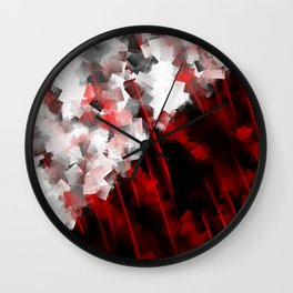 black and white meets red Version 6 Wall Clock