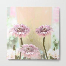 Pastel Spring with Pink Gerbera Daisies Metal Print