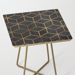 Charcoal and Gold - Geometric Textured Cube Design I Side Table