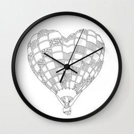 Heart Hot Air Balloon, Adult Coloring Illustration Wall Clock