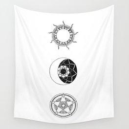Sun, Moon and Star Mandalas Wall Tapestry