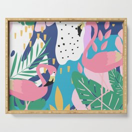 CUTE TROPICAL PINK PASTEL FLAMINGO JUNGLE PATTERN Serving Tray