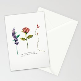 I Want a Little Sugar in My Bowl Violet Red Floral Illustration Lyrics Stationery Cards