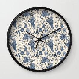 Blue Floral Pattern Wall Clock