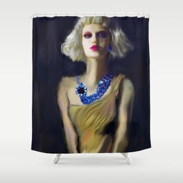 The Girl With The Blue Earring Shower Curtain