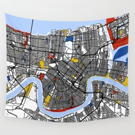 New orleans Mondrian Wall Tapestry