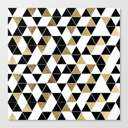 Modern Black, White, and Faux Gold Triangles Canvas Print