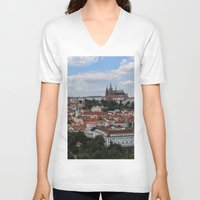 prague V-neck T-shirts featuring Prague CityScape by Andrew Schmidt