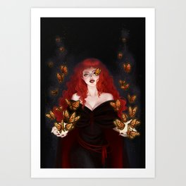 Isabella the red witch Art Print